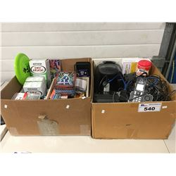 2 BOXES OF ASSORTED OFFICE SUPPLIES & MISCELLANEOUS ITEMS