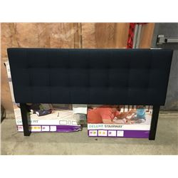 QUEEN SIZE BLUE UPHOLSTERED HEADBOARD