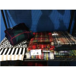SHELF LOT OF ASSORTED MOHAIR SCARFS & SWEATERS MADE IN SCOTLAND & GREAT BRITAIN