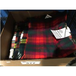 BOX OF SCOTTISH TARTAN SCARFS