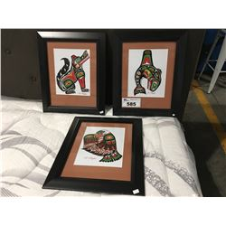 3 FRAMED FIRST NATIONS ART PRINTS BY  DANIEL PUGLAS