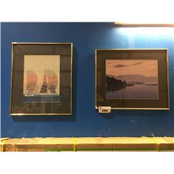 2 FRAMED PRINTS - SAILING SHIPS & MOUNTAIN LAKE