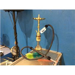 LARGE GLASS AND METAL HOOKAH PIPE