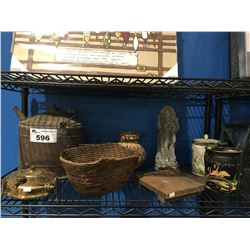 SHELF LOT OF VINTAGE DECORATIVE PIECES- SALISH BASKET, STONE CARVING, COPPER CAN ETC