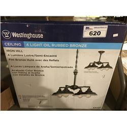 WESTINGHOUSE  4 LIGHT OIL RUBBED BRONZE CEILING LIGHT FIXTURE