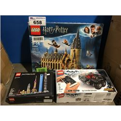 3 ASSORTED LEGO SETS - HARRY PORTER, BATMAN, SHANGHAI