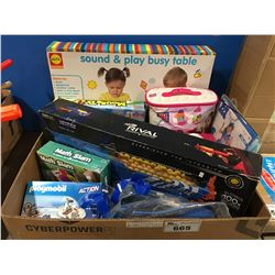 BOX OF ASSORTED KIDS TOYS & GAMES