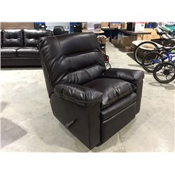 CHOCOLATE BROWN LEATHER UPHOLSTERED RECLINER