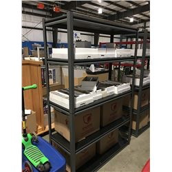 6' SHELVING UNIT METAL WITH WOOD SHELVES