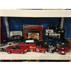 SHELF LOT OF ASSORTED DIE CAST COLLECTORS CARS & TRUCKS