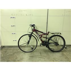 RED HUFFY ROCK CREEK 18 SPEED, FULL SUSPENSION MOUNTAIN BIKE