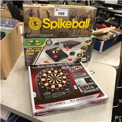 LOT OF SPIKEBALL, BEAN BAG TOSS & ELECTRIC DART BOARD
