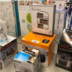 LOT OF ASSORTED AIR FRYER, SPICE RACK & RICE COOKER