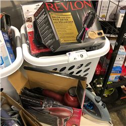 BASKET OF ASSORTED HOUSEHOLD ITEMS INCLUDING REMMINGTON HAIR DRYER