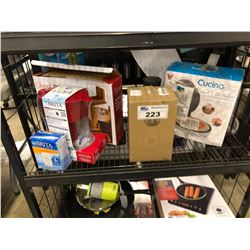 SHELF LOT OF WAFFLE CONE MAKER, CUTTING BOARDS & BRITA FILTER