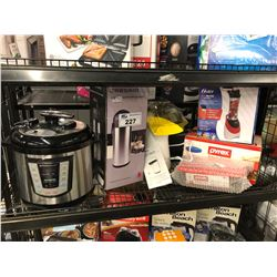 SHELF LOT OF ASSORTED BLENDER, AIR POT, POPCORN MAKER & PRESSURE COOKER