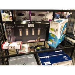 SHELF LOT OF ESSENCE PENDENT LIGHT FIXTURES & CIRCULATING FAN