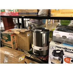 SHELF LOT OF MISC HOUSEHOLD ITEMS INCLUDING HUMIDIFIER & FOOD MIXER