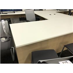 STEELCASE LIGHT MAPLE AND WHITE 6' X 10' X 8' U-SHAPE EXECUTIVE DESK, LH