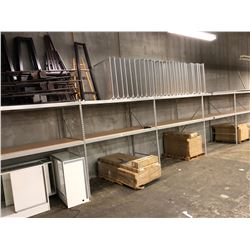 LOT OF MEDIUM DUTY RETAIL STORE RACKING, 8' X 4' BAYS, APPROX 10 BAYS, SHELVING COUNT MAY VARY FROM