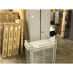 SMALL MOBILE LUNCH CART AND 6' DOUBLE STORAGE UNIT