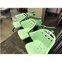 6 SEATS OF GREEN MODERN STYLE CHAIRS