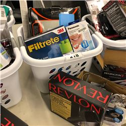 BASKET OF ASSORTED HOUSEHOLD ITEMS INCLUDING REVLON HAIR DRYER