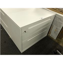 WHITE STEELCASE 2 DRAWER LATERAL FILE CABINET