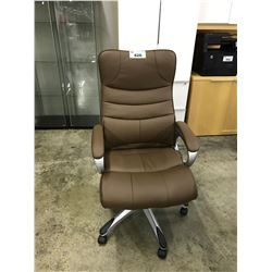 BROWN LEATHER HIGH BACK EXECUTIVE CHAIR