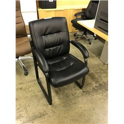 BLACK LEATHER SLED BASE RECEPTION CHAIRS