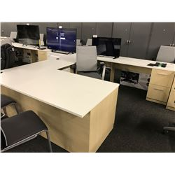 STEELCASE LIGHT MAPLE AND WHITE 6' X 10' X 8' U-SHAPE EXECUTIVE DESK, RH
