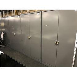 U-LINE GREY 6.5' ADJUSTABLE SHELF DOUBLE DOOR STORAGE UNIT, COMES WITH 4 SHELVES