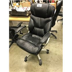 BLACK TUFTED LEATHER HIGH BACK EXECUTIVE CHAIR