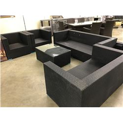 OUTDOOR PATIO 7 SEAT SOFA SET WITH GLASS TOP COFFEE TABLE AND 2 END TABLES