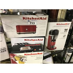 LOT OF KITCHENAID APPLIANCES INC. 2 TOASTERS, RAVIOLI STAND MIXER ATTACHMENT, AND COFFEE MAKER