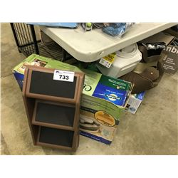LOT OF ASSORTED PET FOOD, ACCESSORIES AND MORE