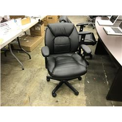 BLACK LEATHER TUFTED LOW BACK FULLY ADJUSTABLE TILTER CHAIR