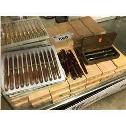 LARGE QUANTITY OF WOOD FOUNTAIN PENS WITH CASES