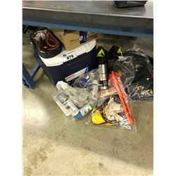LOT OF COOLERS, SPRAY PAINTS, TOOLS AND MORE