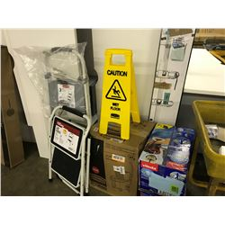 CLEANING SUPPLIES AND STEP LADDERS