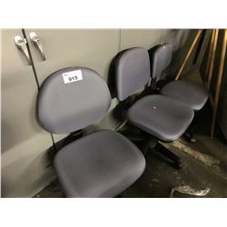 LOT OF BLUE AND BLACK CHAIRS