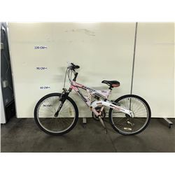 WHITE AND RED INFINITY GRAVITY FULL SUSPENSION 21 SPEED MOUNTAIN BIKE