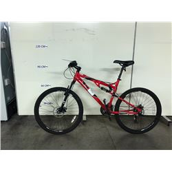 RED CCM 21 SPEED FULL SUSPENSION MOUNTAIN BIKE WITH FRONT AND REAR DISK BRAKES