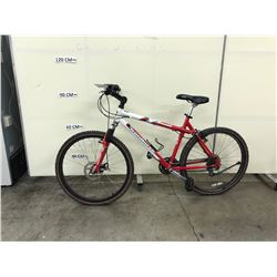 RED AND WHITE IRONHORSE DESPERADO 24 SPEED FRONT SUSPENSION MOUNTAIN BIKE WITH FRONT DISK BRAKES