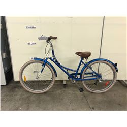 BLUE AND WHITE KENSINGTON 6 SPEED CRUISER BIKE