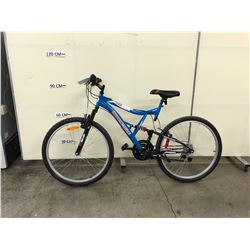 BLUE SUPERCYCLE 26 VICE 18 SPEED FULL SUSPENSION MOUNTAIN BIKE