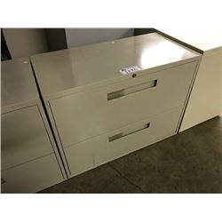 BEIGE 2 DRAWER LATERAL FILE CABINET