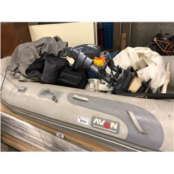 INFLATABLE BOAT, MOTOR, TARPS, SUPPLIES AND MORE