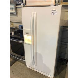 WHITE WHIRLPOOL TWO DOOR REFRIGERATOR WITH ICE/WATER