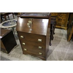 DROP FRONT DESK WITH THREE DRAWERS